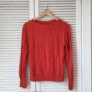 Athleta Red Long Sleeve Scoop Neck Crewneck